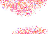 Rose color confetti with heart shapes. Romance pink background for Valentines Day, wedding invitation