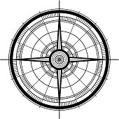 Vector illustration of a modern compass rose.