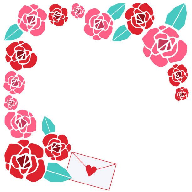 Rose corner frame vector art illustration