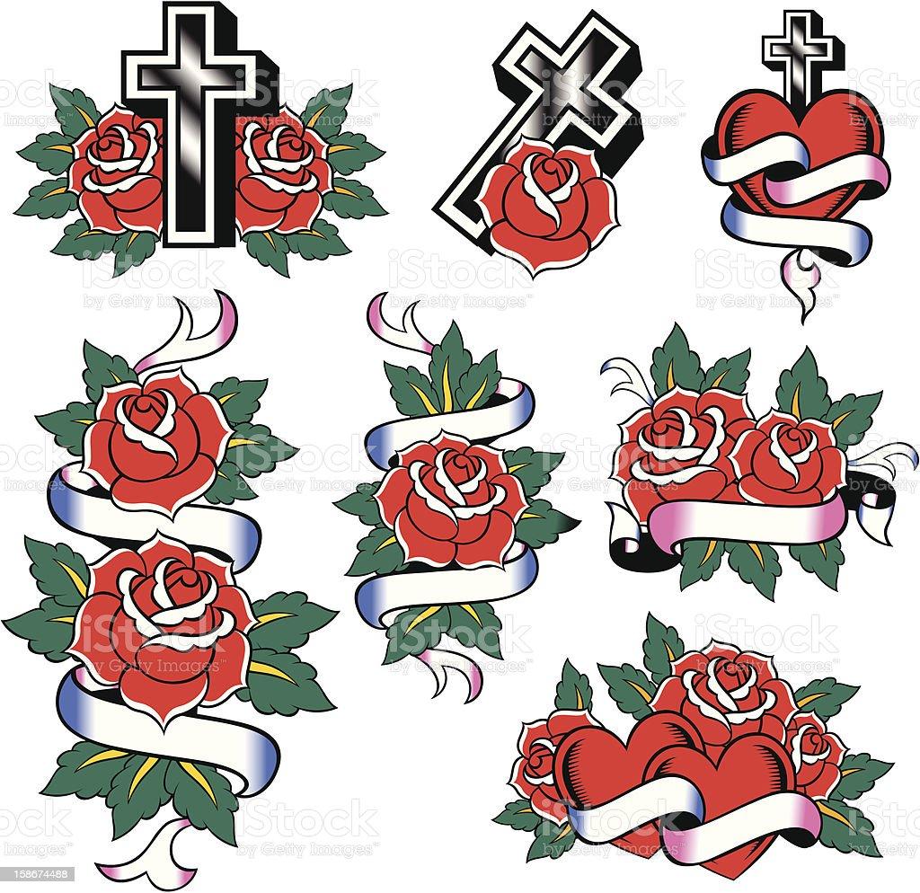 rose cross tattoo royalty-free stock vector art