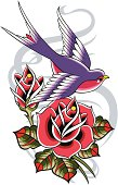 rose design with sparrow