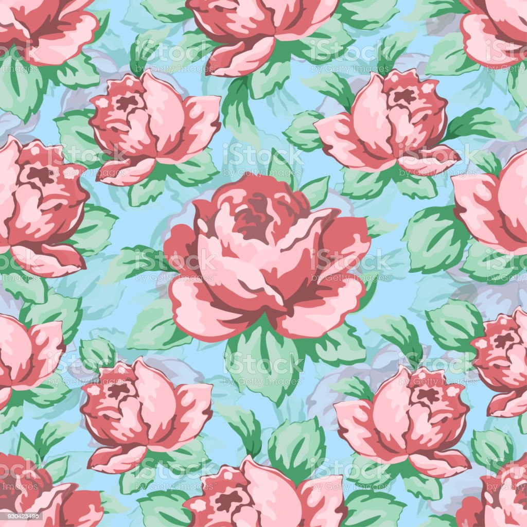 Rose Flower Hand Drawing Seamless Pattern Vector Floral Background