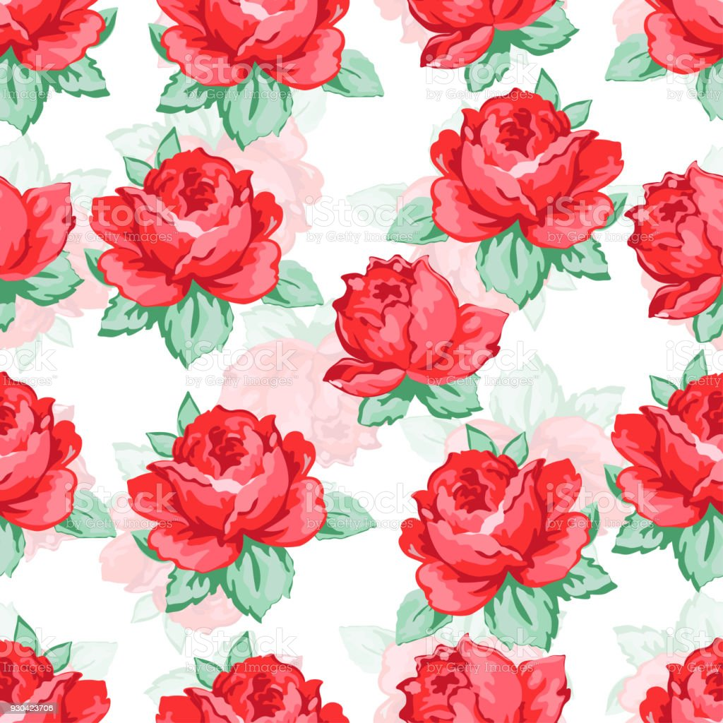Rose Flower Hand Drawing Seamless Pattern Vector Floral Background Embroidery Ornament Drawn