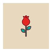 istock Rose flower icon 1198795303