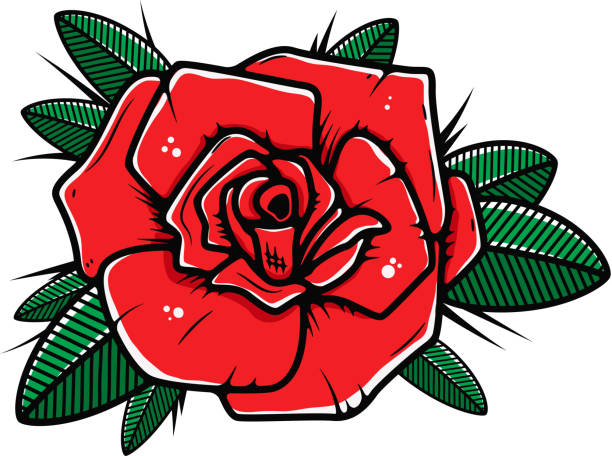 illustrations, cliparts, dessins animés et icônes de illustration de fleur rose en style tatouage isolé sur fond blanc. élément de conception d'affiche, bannière, t-shirt. - tatouages de fleurs