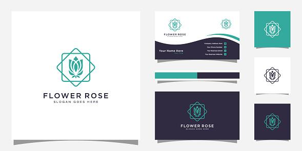 rose flower logo vector design and business card design