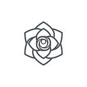 Rose flower outline icon,vector illustration. EPS 10.