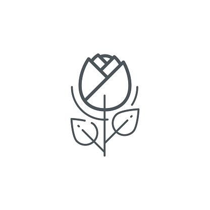Rose flower outline icon
