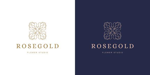 Rose flower petal line and branch with leaves vector logo emblem design template illustration minimal linear style