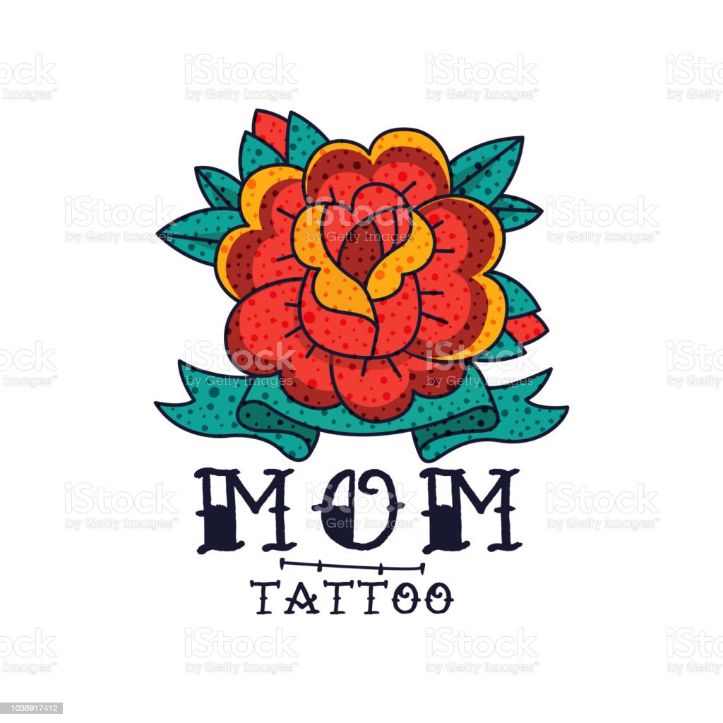 Fleur Rose Ruban Et Mot Maman Classique Americain Old School
