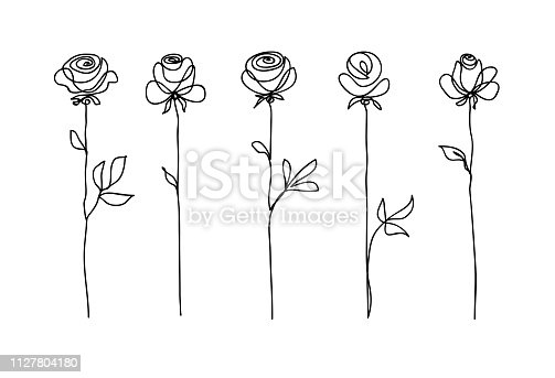 Rose flower set. Continuous drawing. Line art concept design. Stylish modern trend pattern for decoration of invitation card, banner