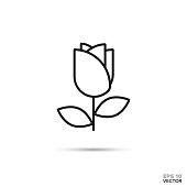 Rose flower vector icon.