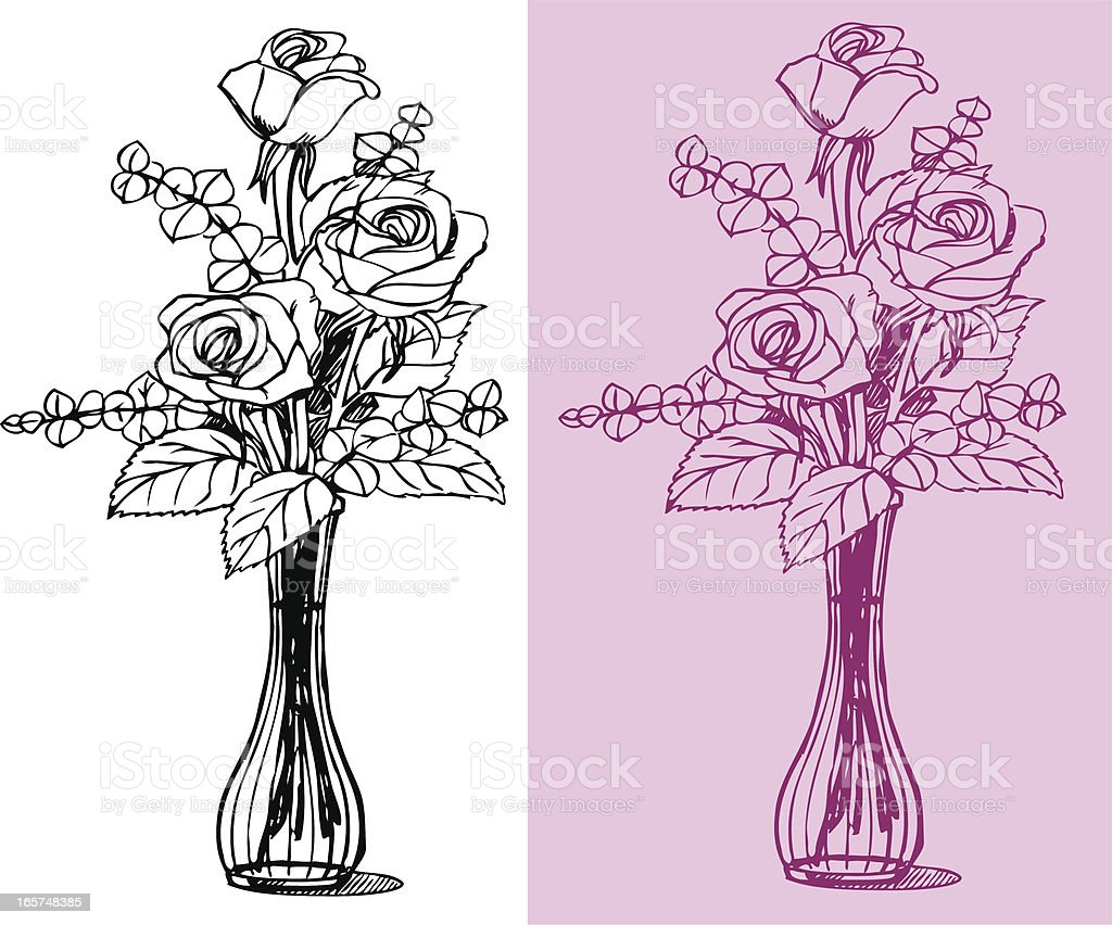 Rose Flowers and Vase royalty-free stock vector art