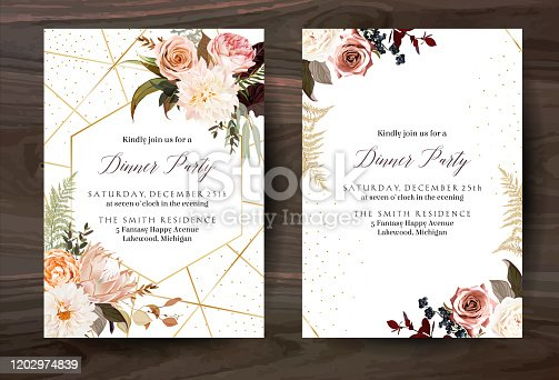 Moody boho chic wedding vector bouquet cards. Fall and winter tones. Orange red, taupe, burgundy, brown, cream, gold, beige, sepia autumn colors. Rose flowers, dahlia, protea, ranunculus, pampas grass