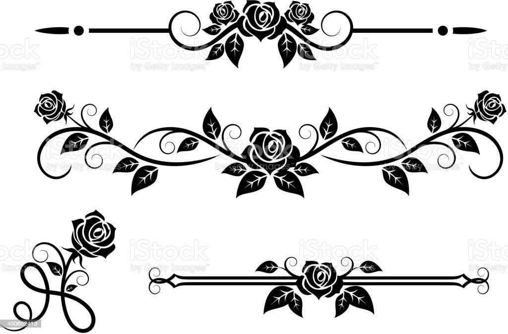 Rose flowers with vintage elements vector art illustration