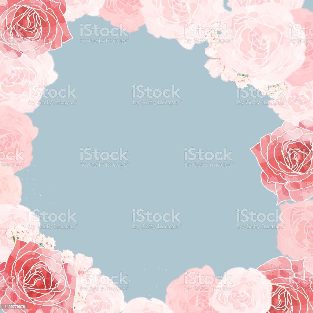 Rose/roses/botanical frame/border/background/greeting card/invitation...