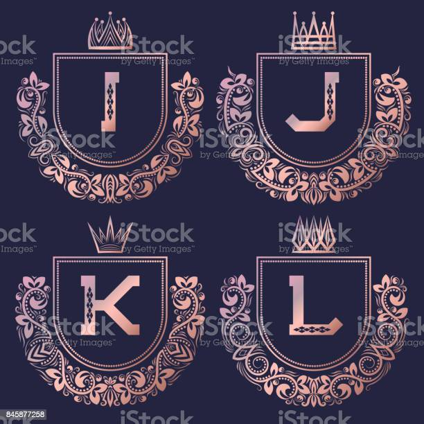 Rose gold coat of arms set in baroque style vintage emblems with i j vector id845877258?b=1&k=6&m=845877258&s=612x612&h=5jhqacidu lvm1qho9xafea2byyg5aze99ibowkvlwa=