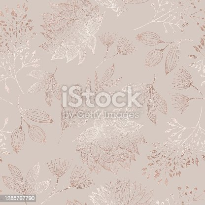 istock Rose Gold Colored Floral Seamless Pattern with Hand Drawn Leaves, Bloosoms and Branches. Christmas and New Year Greeting Card Background Template, Christmas Present Wrapping Paper.  Rose Gold Foil Vector Design Element for Birthday, New Year, Christmas Ca 1285767790