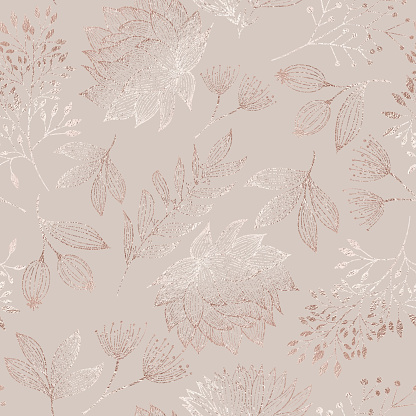 Rose Gold Colored Floral Seamless Pattern with Hand Drawn Leaves, Bloosoms and Branches. Christmas and New Year Greeting Card Background Template, Christmas Present Wrapping Paper.  Rose Gold Foil Vector Design Element for Birthday, New Year, Christmas Ca