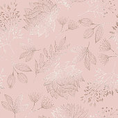 Rose Gold Colored Floral Seamless Pattern with Hand Drawn Leaves, Bloosoms and Branches. Christmas and New Year Greeting Card Background Template, Christmas Present Wrapping Paper.  Rose Gold Foil Vector Design Element for Birthday, New Year, Christmas Card, Wedding Invitation.