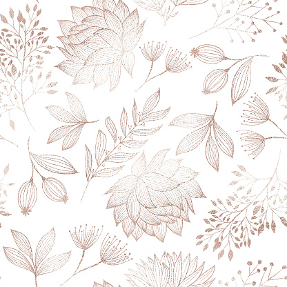 Rose Gold Colored Floral Seamless Pattern with Hand Drawn Leaves, Bloosoms and Branches. Christmas and New Year Greeting Card Background Template, Christmas Present Wrapping Paper.