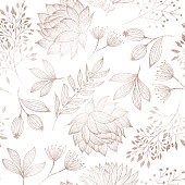 istock Rose Gold Colored Floral Seamless Pattern with Hand Drawn Leaves, Bloosoms and Branches. Christmas and New Year Greeting Card Background Template, Christmas Present Wrapping Paper. 1291576300