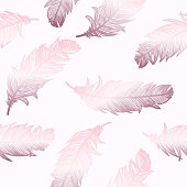 Rose Gold Feathers Background. Design Element for Greeting Cards and Wedding, Birthday and other Holiday and Summer Invitation Cards Background.