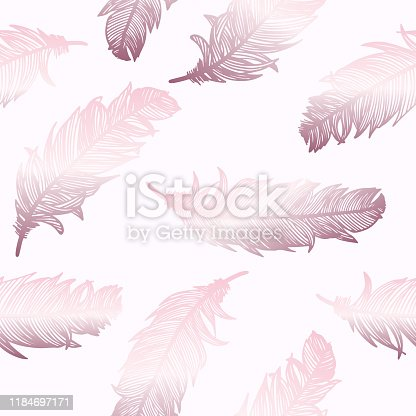 istock Rose Gold Feathers Background. Design Element for Greeting Cards and Wedding, Birthday and other Holiday and Summer Invitation Cards Background. 1184697171