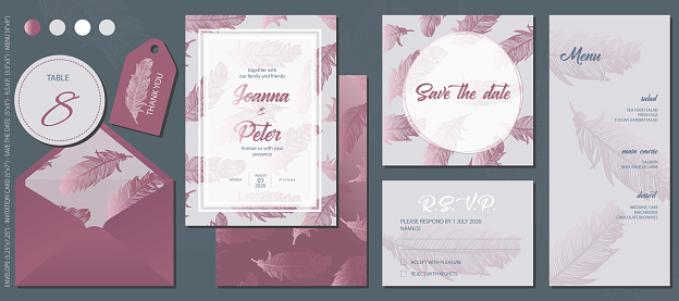 Rose Gold Feathers Wedding Invitation Template Set. Table Number&Thank You Labels, Invitation Card, Save The Date Card, R.S.V.P. Card and Menu.