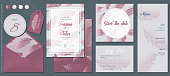 Rose Gold Feathers Wedding Invitation Template Set. Table Number&Thank You Labels, Invitation Card, Save The Date Card, R.S.V.P. Card and Menu. Elegant Design Elements for Your Special Day.(See the size info on the left)