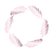 Rose Gold Feathers Wreath. Design Element for Greeting Cards and Wedding, Birthday and other Holiday and Summer Invitation Cards Background.