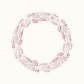 Rose gold floral wreath. Glitter background