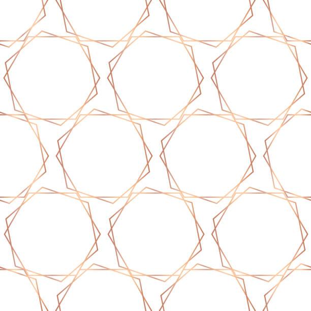 Rose gold foil hexagons seamless vector pattern vector art illustration