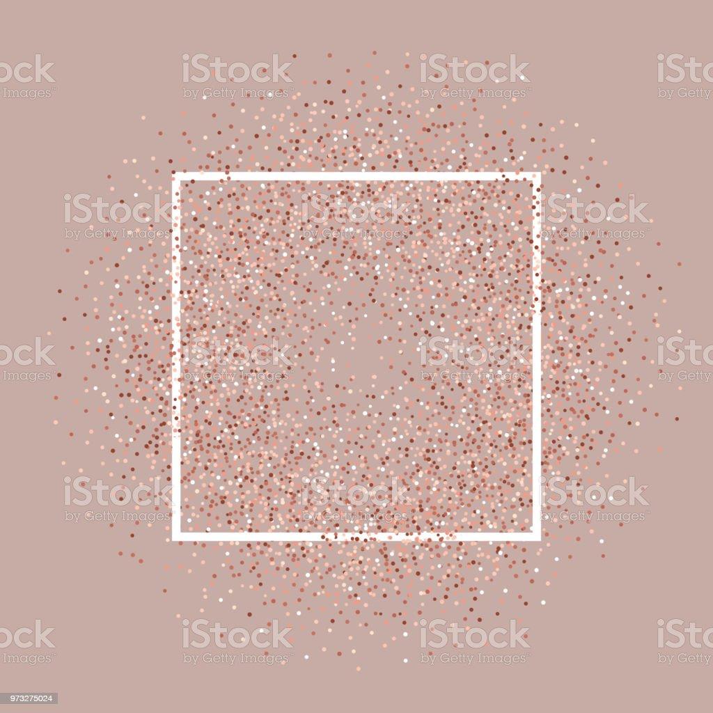 Rose gold glitter background with white frame vector art illustration