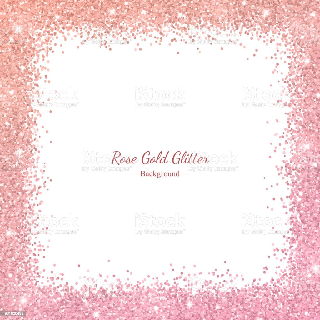 rose gold glitter border frame with color effect on white background vector royalty free