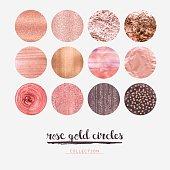 Rose gold glitter circles