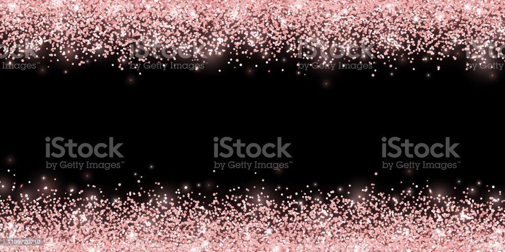 Rose gold glitter on black background, horizontal wide border. Vector...