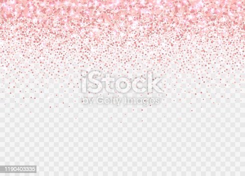 istock Rose gold glitter partickles isolated on transparent background. Falling sparkling confetti. 1190403335