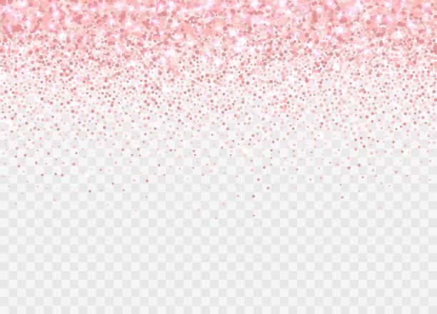 różowe złoto brokat partickles izolowane na przezroczystym tle. spadające musujące konfetti. - różowy stock illustrations
