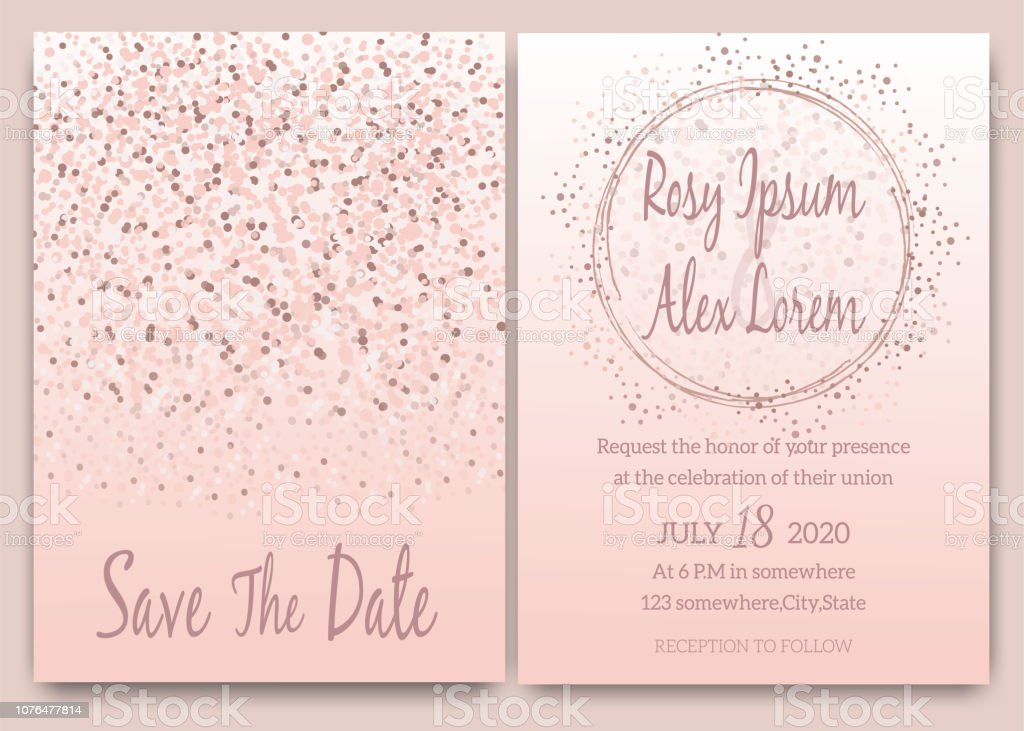 Rose Gold Glitter Pink Wedding Card Invitation Stock