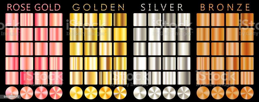 rose gold golden silver bronze gradientpatterntemplateset of colors