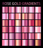 Rose Gold gradients collection for design. Collection of shiny pink rose gold gradient illustrations for backgrounds, cover, frame, ribbon, banner, label, flyer, card, poster etc.