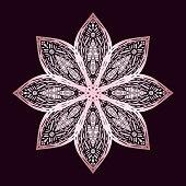 Rose Gold Hand Drawn Water Lily Lotus Mandala Pattern Background. Henna, Mehndi Tattoo  Decoration. Decorative ornament in ethnic oriental style.