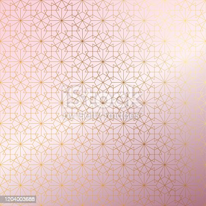 Rose Gold Islamic Pattern Abstract Background.