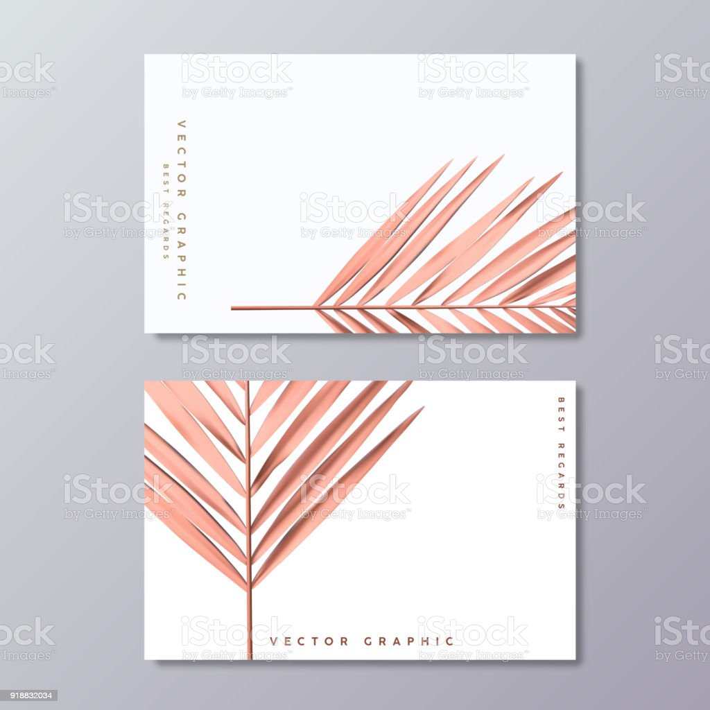 Modle De Feuille Palmier Or Rose Carte Visite Design Minimaliste