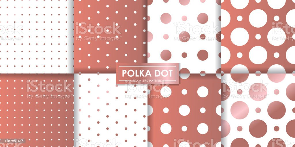 Rose Gold Polka Dot Seamless Pattern Collection Abstract