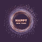 rose gold star on violet night color. sparkling circle vector illustration. new year abstract background for card, header, poster, invitation.