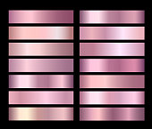 Rose Gold Vector pink foil texture gradients templates set