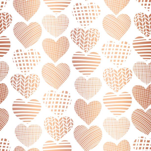 Rose golden foil hearts seamless vector pattern vector art illustration
