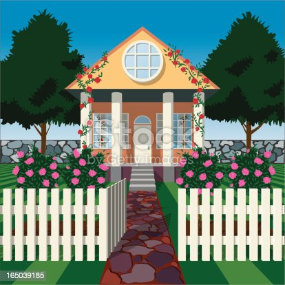Perfect little house with roses and white picket fence. EPS, AI and 300dpi JPG